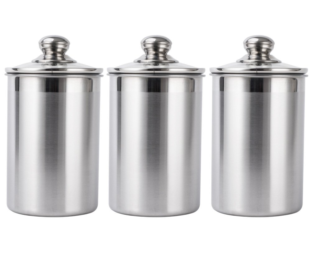 Vencer 3 Piece Set Large Sized 64oz (1.9L) Each, Stainless Steel Canister Set with Glass Lids, Coffee, Tea, Sugar, Flour for Kitchen,VFO-002