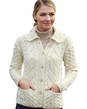 Irish Aran Knitwear 100% Super Soft Merino Wool Women s Aran Cable Knit  Cardigan  40b53dd48