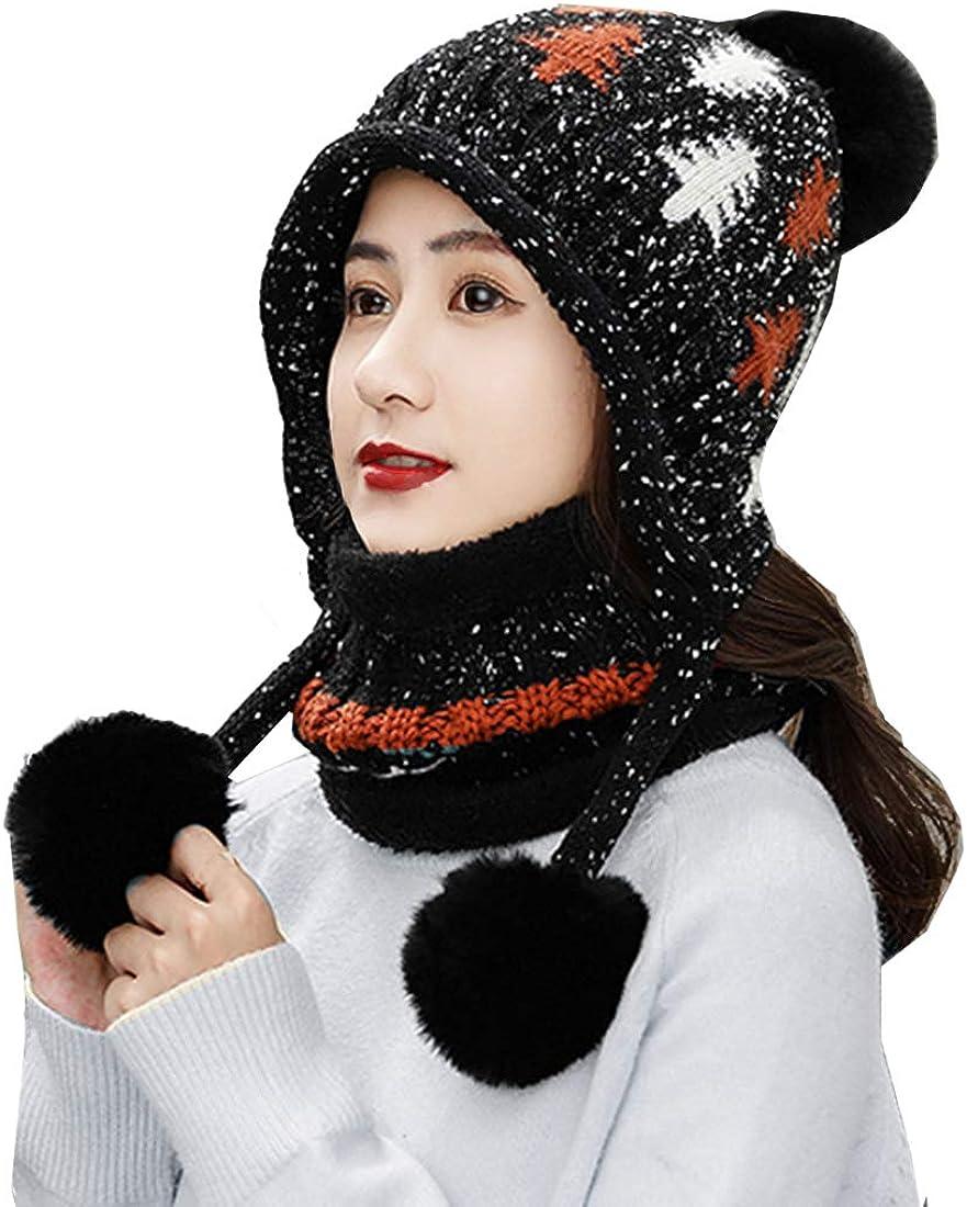 KRATARC Cold Winter Women Warm Beanie Hat Knit Neck Gaiter Scarf Set Knitted Fleece Girls Pompom