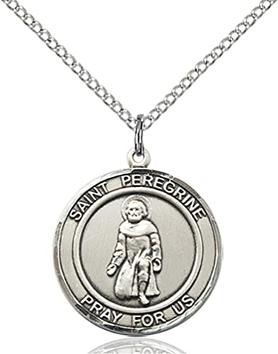 Amazon sterling silver st peregrine pendant with 18 stainless sterling silver st peregrine pendant with 18quot stainless steel lite curb chain patron mozeypictures Image collections