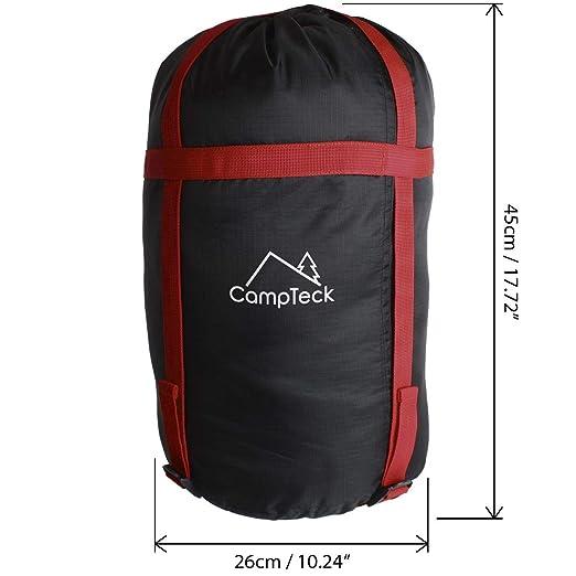 CampTeck U6954 - Funda Compresion Saco Ligera Bolsa de Viaje Bolsa Compresion Resistente al Agua para Saco de Bormir, Almacenar Ropa, Camping - Negro: ...