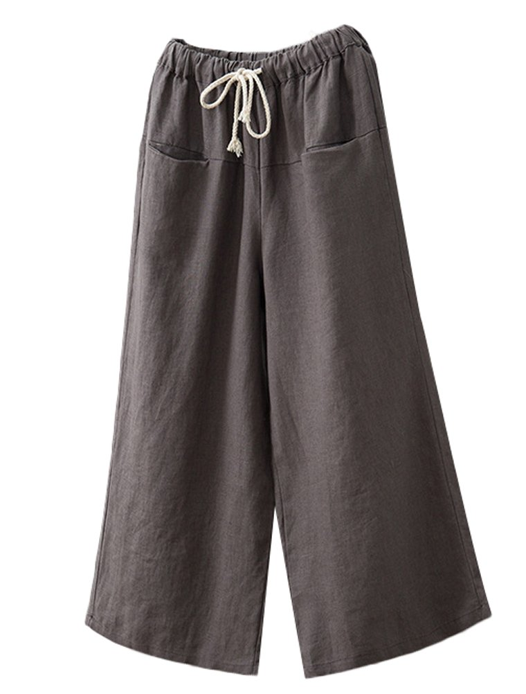 Minibee Women's Linen Wide Leg Pants Elastic Drawstring Lounge Cropped Trousers Gray
