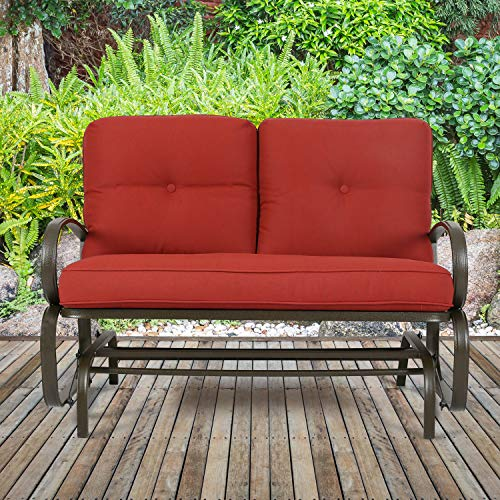 PATIO TREE Patio Swing Glider Bench for 2 Person All Weatherproof Rocking Chair Garden Loveseat Outdoor Furniture ()