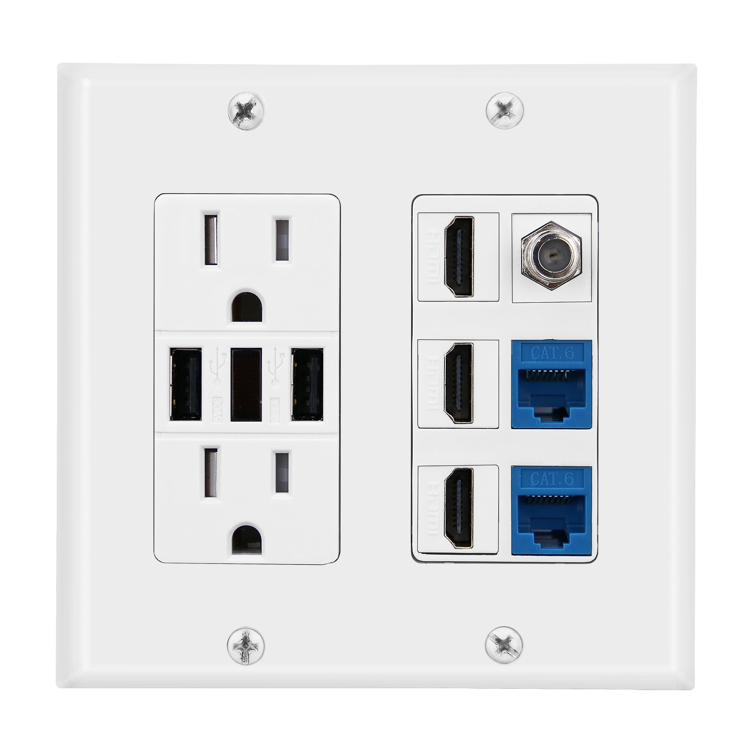 IMONTA 2 Power Outlet 15A with Dual 2.4A USB charger Port Wall Plate with LED lighting, 3 HDMI HDTV + 2 CAT6 RJ45 Ethernet + Coaxial Cable TV F Type Keystone Face Plate White