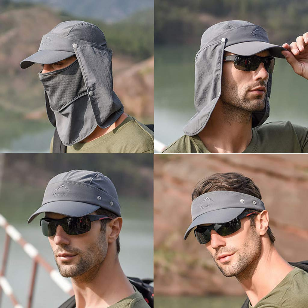 Tantisy ♣↭♣ Fully Enclosed Sun Protection Hats ☘ Unisex Flap Hats Sunscreen Cap Removable Summer Outdoor Fishing Hat Gray by Tantisy ♣↭♣ (Image #2)
