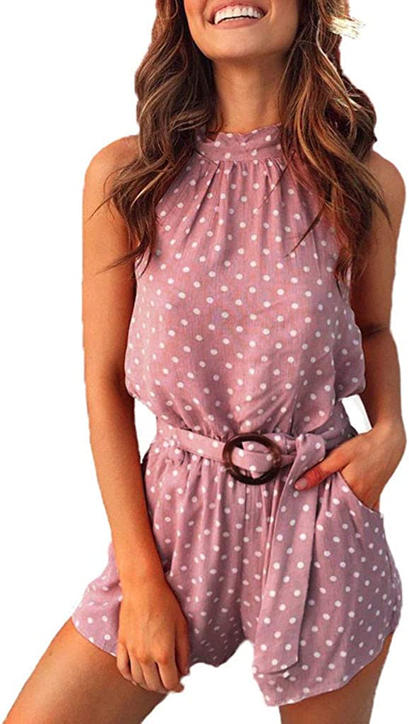 Simayixx Womens Summer Polka Dot Halter Neck Sleeveless Short Playsuits Pockets Romper Jumpsuit with Belt