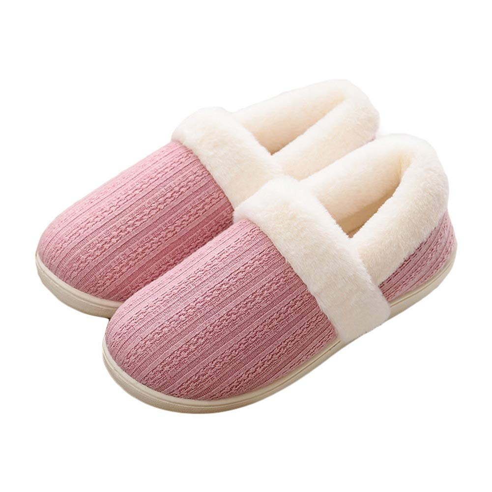 BUYITNOW Women's Woolen Fabric House Slippers, Velvet Memory Foam Closed Back Anti-Slip Breathable Slippers