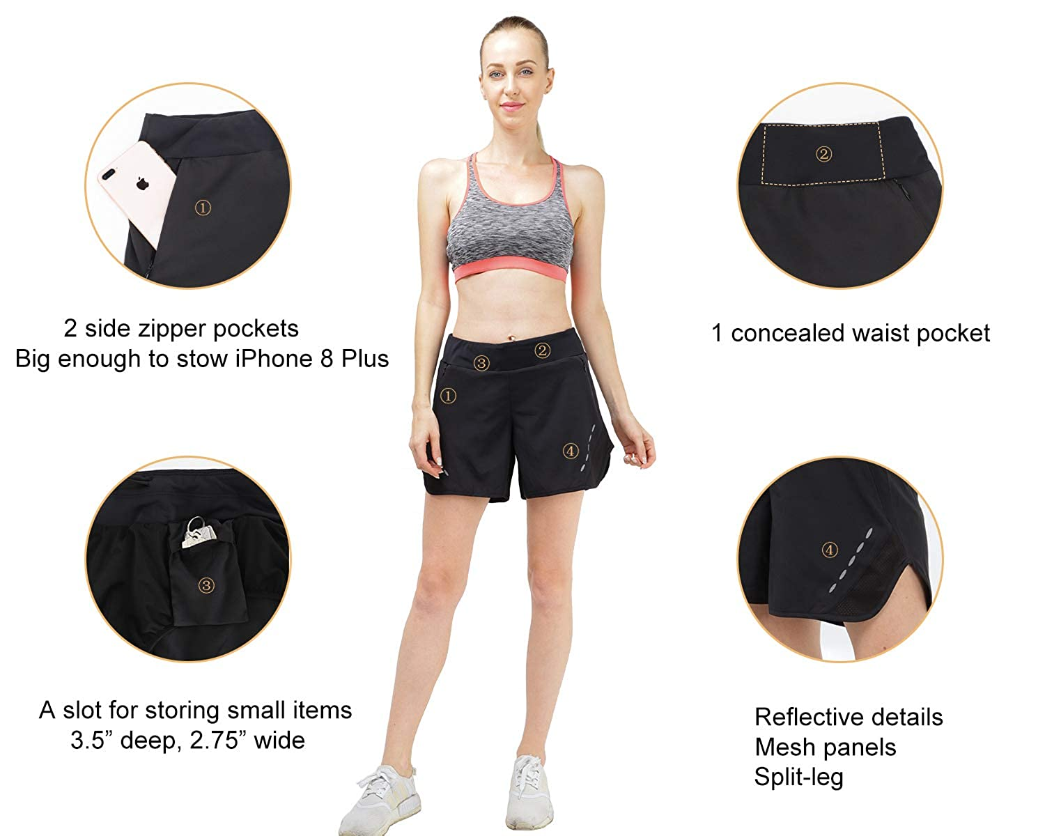 MIER Womens 5 Inches Running Shorts Quick Dry Workout Shorts with Liner Black Lightweight 4 Pockets Water Resistant