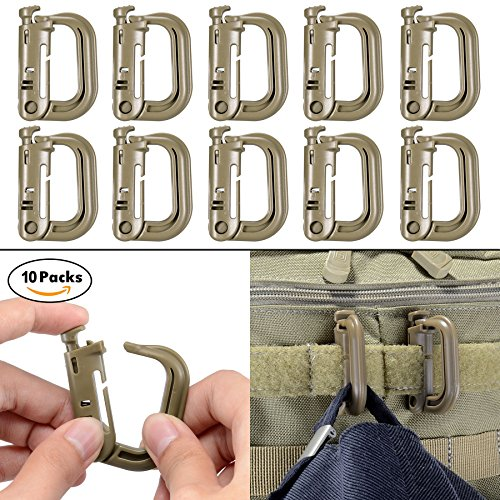 10 Pack Multipurpose D-Ring Grimloc Locking for Molle Webbing with Zippered Pouch by BOOSTEADY (Brown)