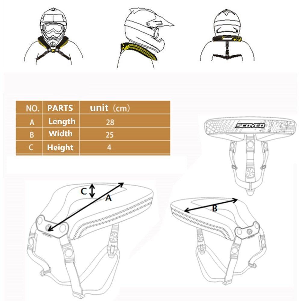 CRAZY AL/'S N02B Neck Protector Motorcycle Neck Brace Support Motorcycle Neck Rests for SCOYCO Black