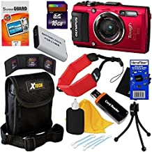 Olympus Stylus Tough TG-4 Water/Shock/Freeze/Crush Proof 16MP Wi-Fi Digital Camera with GPS & HD Video (Red) International Version + LI-90B/92B Battery + 16GB Accessory Kit w/ HeroFiber Cleaning Cloth