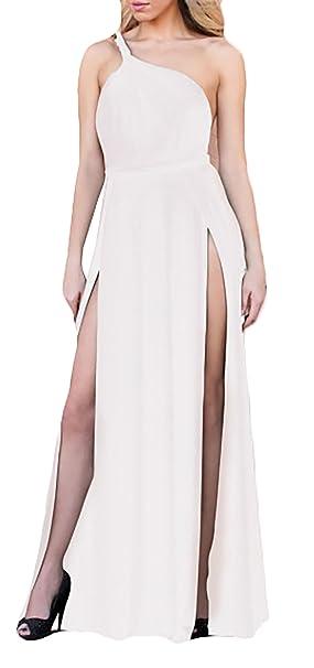 HX fashion Mujer Vestido De Noche Ceremonia Largos Elegantes Sencillos Diario Hombros Descubiertos Sin Espalda Sin