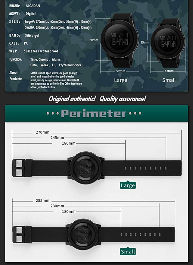 Mens Digital Sports Wrist Watch LED Screen Large Face Electronics Military Watches Waterproof Alarm Stopwatch Back Light Outdoor Casual Watch