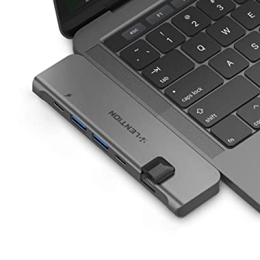 LENTION USB C Portable Hub with 40Gbps Thunderbolt 3, 100W Power Delivery, 4K HDMI, 2 USB 3.0, Type C, Gigabit Ethernet Adapter Compatible 2019-2016 MacBook Pro 13/15, New Mac Air (Space Gray)