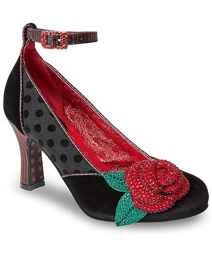 e2dd7bbca Joe Browns Couture Women s Black   Red Senorita Crystal Rose Ankle Strap  Shoe ...