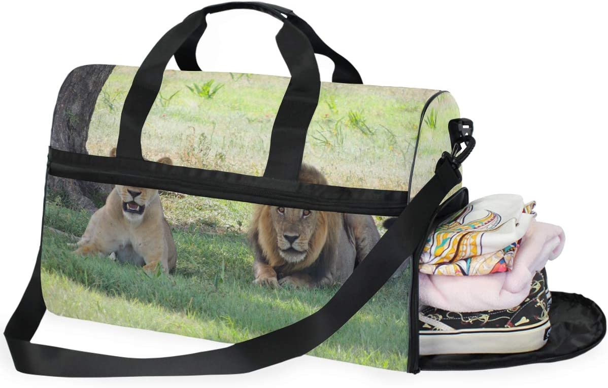AHOMY Lions Sports Gym Bag with Shoes Compartment Travel Duffel Bag
