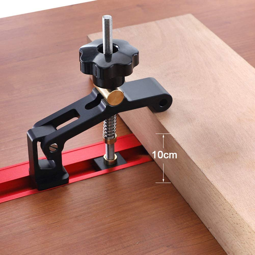 APROTII APROTII Aluminum Alloy T-Track 30 45 Type T-Slot Hold Down Block Clamp Carpentry Pressboard Clamp Kit Positioning Limiter Miter Clip DIY Tool