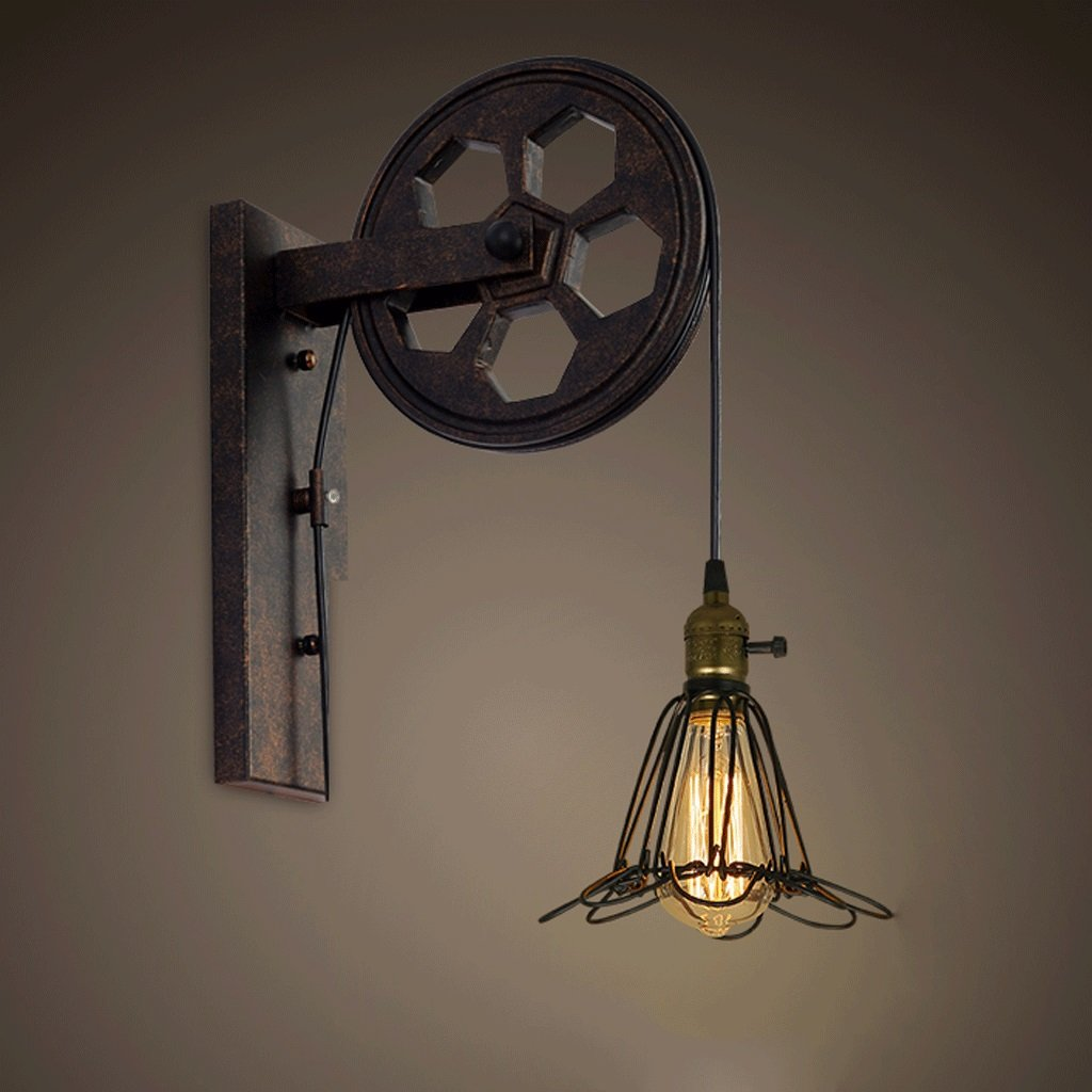 G Iron Art Wandleuchte, Retro Industrial Wind Lift Riemenscheibe Beleuchtung Personalisierte Restaurant Korridor Gang Wand Lampe E27 Lichtquelle