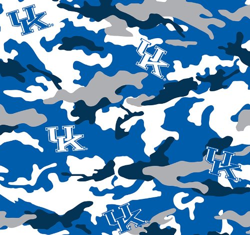 University of Kentucky Blue Camo Cotton Fabric - Sold By the Yard