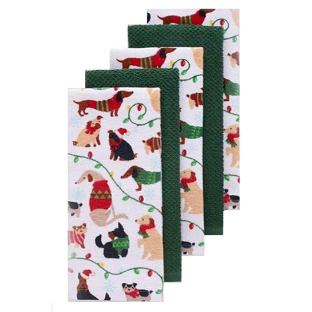 Christmas Dogs Kitchen Towel 5-pk.