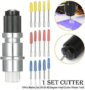 Juego de 15 cuchillas y soporte de Silhouette Cameo 30 45 60 grados de vinilo Cúter Plotter Herramienta: Amazon.es: Bricolaje y herramientas