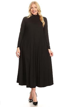 Modern Kiwi Womens Plus Size Long Sleeve Mock Neck Maxi Dress With