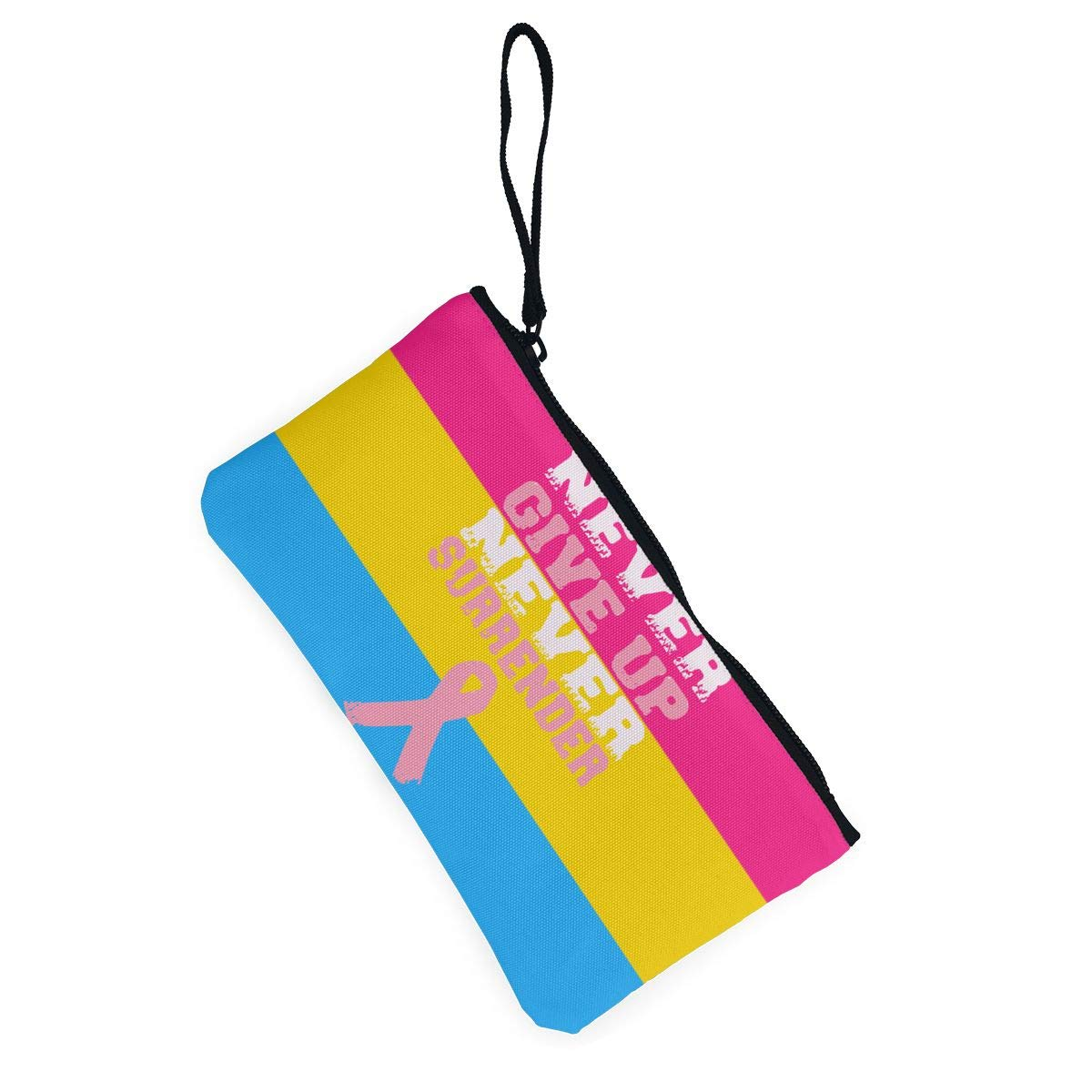 Breast Cancer Awareness Canvas Change Coin Purse Small Cute Money Bag with Zip