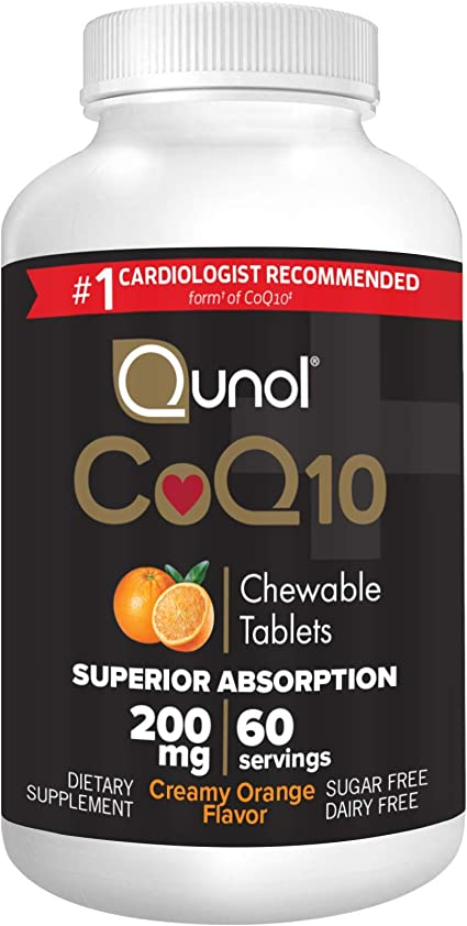 Qunol CoQ10 200mg, Superior Absorption Natural Supplement Form of Coenzyme Q10, Antioxidant for Heart Health, Chewable Tablet, Creamy Orange Flavor, 60 Servings
