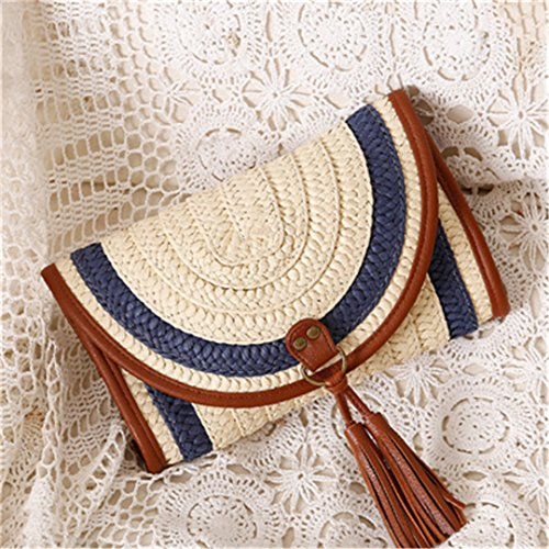 Man Wicker Island (INS Hot Handmade Bali Beach Bags Women Summer Island Straw Knitted Handbag Crossbody Wicker Bag Woven Flap KS1116 Blue)