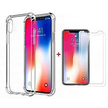 DYGG Compatible con Funda para iPhone XS MAX 6.5, Carcasa Forro Transparente TPU Silicona Flexible Case+[2* Protector de Pantalla]