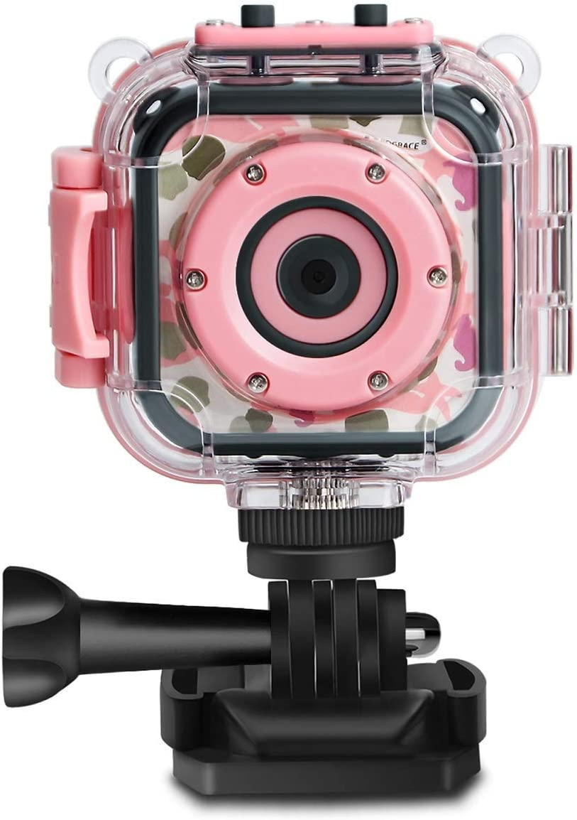 PROGRACE Children Kids Camera Waterproof Digital Video HD Action Camera 1080P Sports Camera Camcorder DV for Girls Birthday Holiday Gift Learn Camera Toy 1.77'' LCD Screen (Pink): Toys & Games