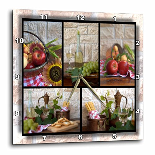 Wine and Fruit Collage Wall Clock - wine wall art decor,