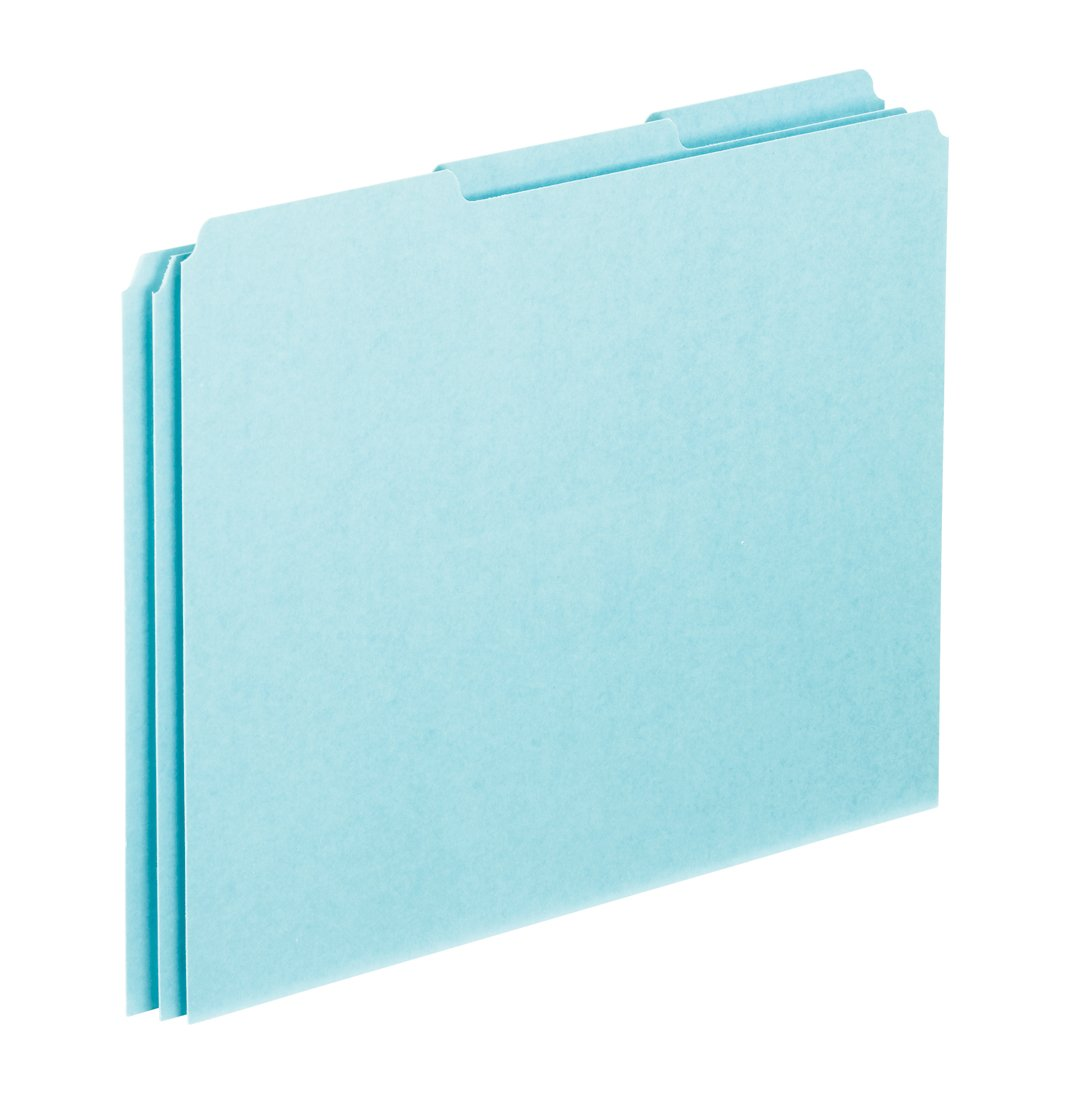 Pendaflex PN203 Blank Tab File Guides, 25 pt. Blue Pressboard, 1/3 Cut, Letter Size, 100/box