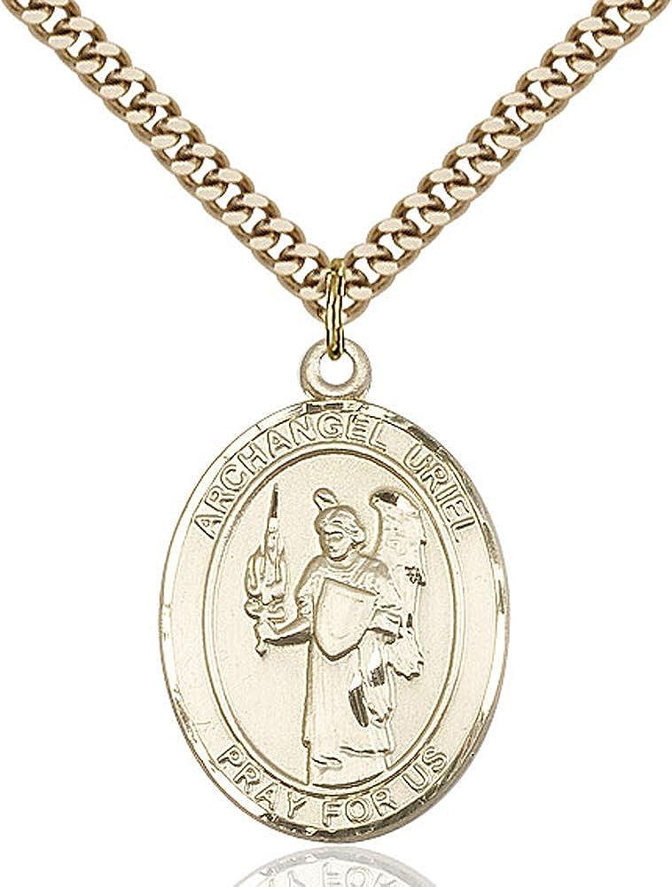Gold Plate Heavy Curb Chain Patron Saint 1 x 3//4 14kt Gold Filled St Uriel Pendant