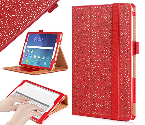 WWW Galaxy S3 9.7 Case, [Luxury Laser Flower] Premium PU Leather Case Protective Cover with Auto Wake/Sleep Feature for Samsung Galaxy S3 9.7 Red
