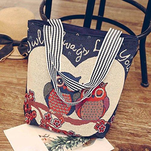 Saingace Frauen Leinwand Cartoon Owl Print Handtasche Schulter Messenger Bag Satchel Tote Bags G XzVjRc1D