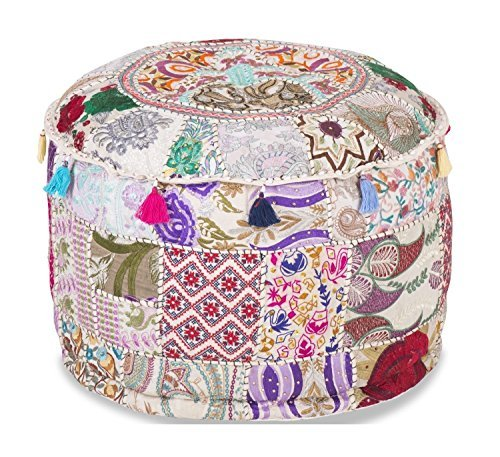 Indian Living Room Pouf, Foot Stool, Round Ottoman Cover Pouf,Traditional Handmade Decorative Patchwork Ottoman Cover,Indian Home Decor Cotton Cushion Ottoman Cover 22x15''inche (White)