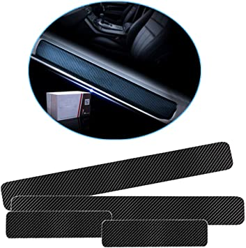 White SENYAZON 4D Carbon Fiber Reflective Car Door Sills Sticker for All Car Scuff Welcome Plate Stickers Vinyl Sticker Car-Styling
