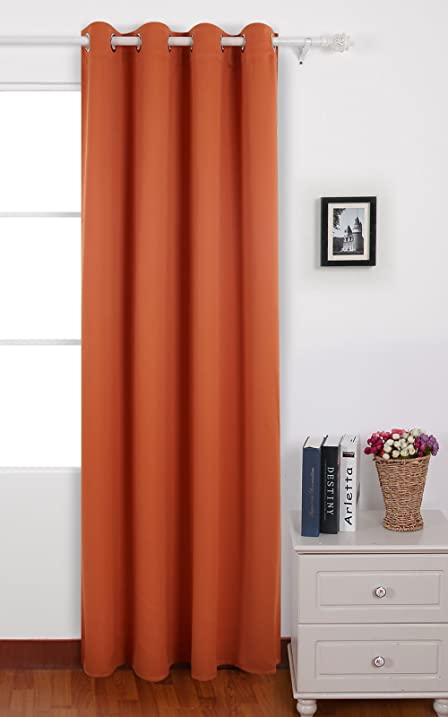 Deconovo Grommet Plush Orange Thermal Insulated Blackout Curtain Panel  52x95 Inch