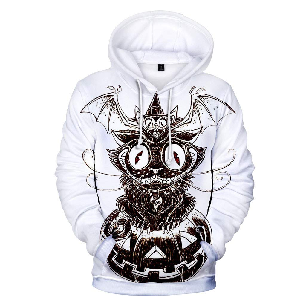 FEDULK Mens Casual Halloween Pullover Lovers 3D Print Long Sleeve Party Coat Tops Blouse Sweatshirt(White, Small) by FEDULK