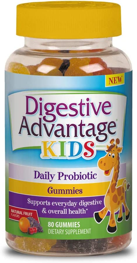 Daily Probiotic Gummy For Kids - Digestive Advantage (80 count in a bottle), Supports Everyday Digestive & Overall Health With Natural Fruit Flavors