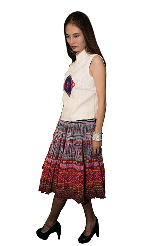 Interact China Falda Plisada Bordada Tribal Hmong Vestido Vintage Algodón 100% Artesanía #112: Amazon.es: Ropa y accesorios
