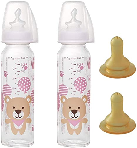 NIP biberon cristal 250 ml / 2 unidades / 4 Tetina Leche (2 tetina de silicona +2 tetina de látex) : Amazon.es: Bebé