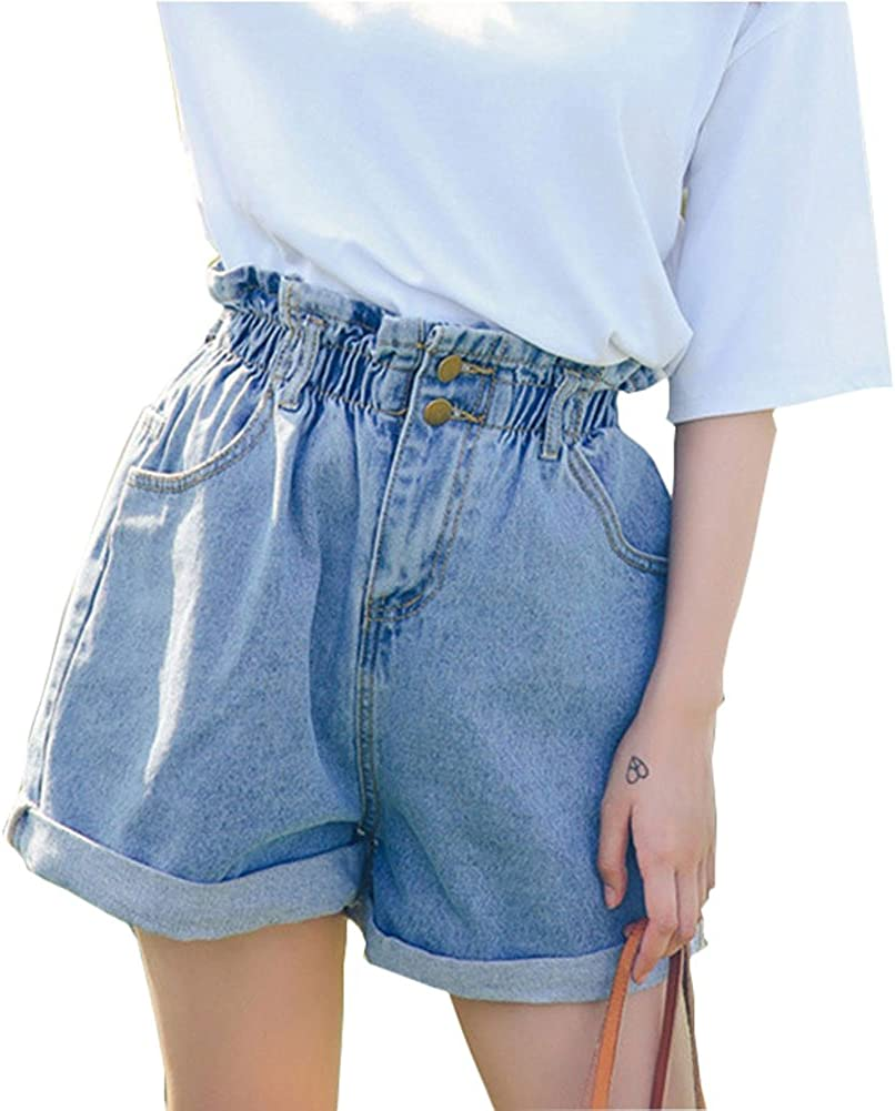 Plaid/&Plain Womens High Waisted Denim Shorts Rolled Blue Jean Shorts