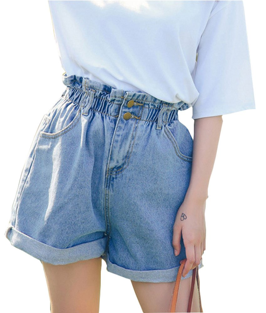 Plaid&Plain Women's High Waisted Denim Shorts Rolled Blue Jean Shorts L-2 M