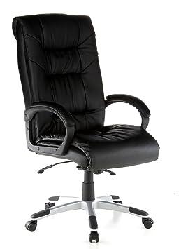 Hjh OFFICE 621560 Chaise De Bureau Fauteuil Direction PRESIDENT SOFT Noir En Cuir