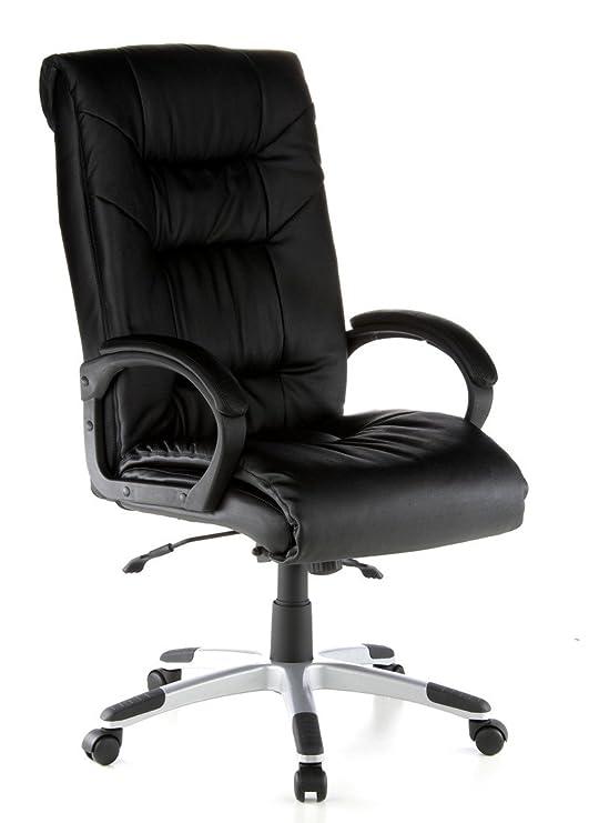 hjh OFFICE 621560 silla de oficina PRESIDENT SOFT cuero negro, ergonómico, buen acolchado, cuero real, inclinable, muy cómodo, con apoyabrazos acolchados, ...