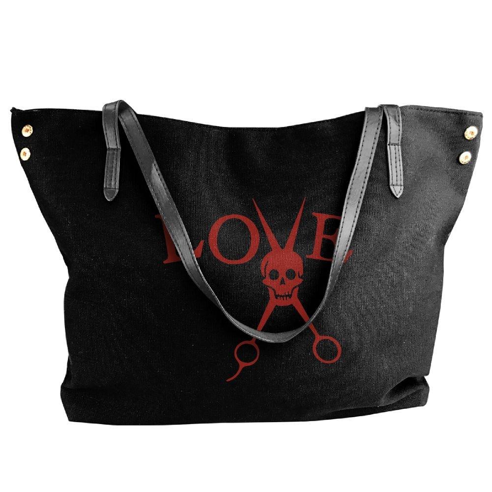 Women's Canvas Large Tote Shoulder Handbag Barber Hair Stylist Love Skull Hobo Handbag Bag Tote