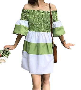 Weirk Damen Susser Kleider Retro Carmen Ausschnitt Kleid Elegant