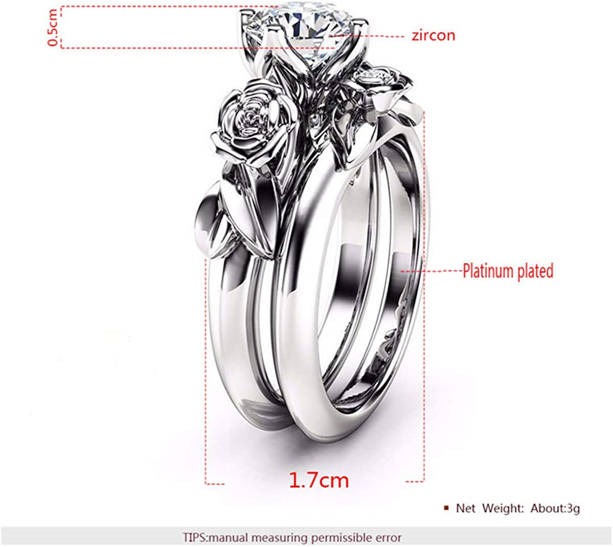 Zzred Cubic Zirconia Rings Wedding Set Ring Eternity Love Flower Band for Women Girl Platinum Plated 2pc